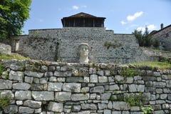 Wand und großer Steinkopf Stockbilder