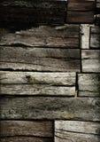 Wand von den Holzschwellen Stockfoto