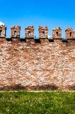 Wand von einem roten Ziegelstein Stockfotos