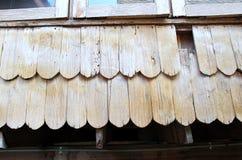 Wand von hölzernen Schindeln der Lärche in Chiloe Chile Lizenzfreies Stockbild