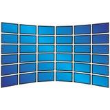 Wand von mit großem Bildschirm HDTVs Lizenzfreie Stockbilder