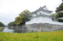 Wand von Nijo-Schloss und von klarem Abzugsgraben Stockfotos