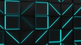 Wand von schwarzen Rechteckfliesen mit blauen glühenden Elementen stock video