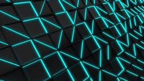 Wand von schwarzen Rechteckfliesen mit blauen glühenden Elementen stock footage