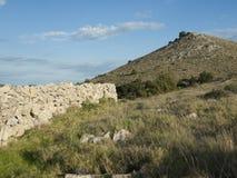 Wand von Steinen auf der Insel Stockfotografie