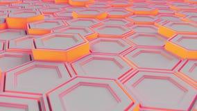 Wand von weißen Hexagonen mit rotem Glühen stock video footage