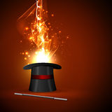 Wand and wizard hat. Background wand and magical glow Royalty Free Stock Images