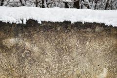 Wandbeschaffenheit mit Schnee auf die Oberseite Lizenzfreies Stockbild