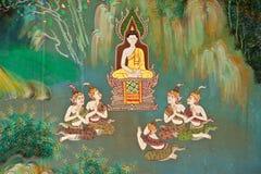 Wandbild auf der Wand der buddhistischen Kirche lizenzfreies stockbild