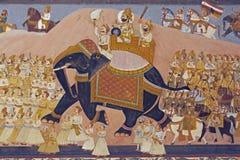 Wandbild der indischen königlichen Prozession lizenzfreie stockfotos