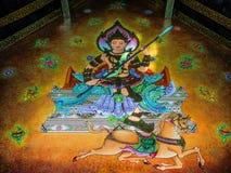 Wandbild des Gottes sitzend über Pferd Stockfotos