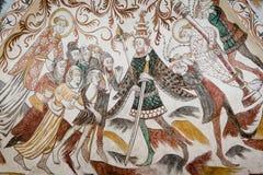 Wandbild vom 1400s in einer dänischen Kirche Stockfotografie