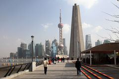 Wandel langs de Dijk in Shanghai, China Stock Fotografie