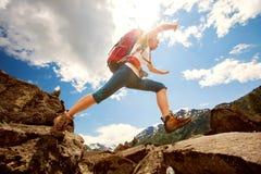 Wandelaar in Altai-bergen Royalty-vrije Stock Afbeelding
