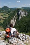 Wandelaar bij de Kloven van Bicaz van de Berg Hasmas Royalty-vrije Stock Fotografie