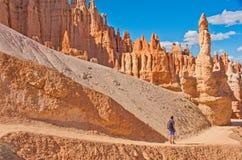 Wandelaar in Bryce Canyon National Park, Utah, de V.S. Royalty-vrije Stock Foto