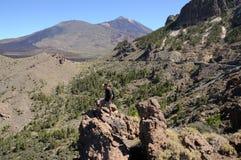 Wandelaar in de bergen. Tenerife, Spanje Stock Foto's