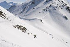Wandelaar in de sneeuw Royalty-vrije Stock Afbeeldingen