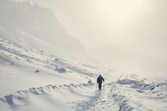 Wandelaar in de sneeuwbergen stock afbeelding