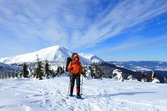 Wandelaar in de winterbergen Stock Fotografie
