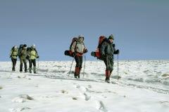 Wandelaar in de winterbergen Stock Afbeelding