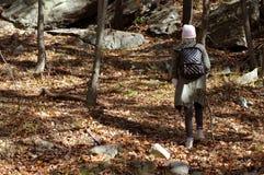 Wandelaar die in de herfstbos lopen in de bergen Wandeling en het reizen Royalty-vrije Stock Afbeeldingen