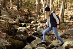 Wandelaar die in de herfstbos lopen in de bergen Wandeling en het reizen Royalty-vrije Stock Foto's