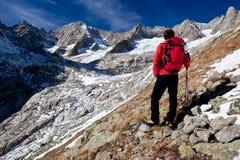 Wandelaar die een hoog bergpanorama waarneemt stock afbeeldingen