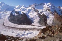 Wandelaar die Gorner Gletsjer, Zermatt, Zwitserland bekijkt stock fotografie