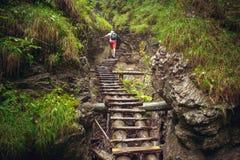 Wandelaar die harde manier lopen door de canion Royalty-vrije Stock Fotografie