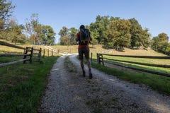Wandelaar die het dragen van een rugzak weggaan royalty-vrije stock fotografie