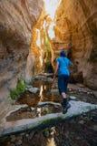 Wandelaar die langs de canion lopen royalty-vrije stock foto