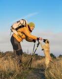 Wandelaar en hond Stock Fotografie