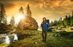 Wandelaar in het Italiaanse Dolomiet Royalty-vrije Stock Afbeeldingen