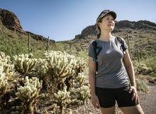 Wandelaar in het Nationale Park van Saguaro Stock Fotografie