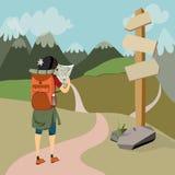 Wandelaar op de kaart van de bergsleep Stock Afbeelding
