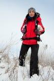 Wandelaar op de sneeuw Stock Foto's