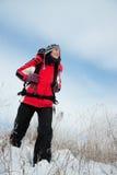 Wandelaar op de sneeuw Stock Fotografie