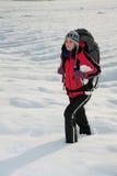 Wandelaar op de sneeuw Royalty-vrije Stock Foto's