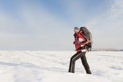 Wandelaar op de sneeuw Stock Afbeeldingen