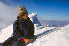 Wandelaar op Huayna Potosi Royalty-vrije Stock Foto