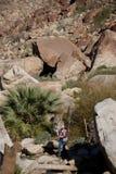 Wandelaar in rotsachtig ravijn stock fotografie