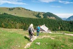 Wandelaar twee in de alpen Royalty-vrije Stock Afbeeldingen