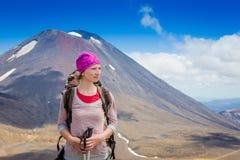 Wandelaar vrouwelijk portret openlucht Royalty-vrije Stock Foto