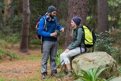 Wandelaarpaar die met elkaar in bos interactie aangaan Royalty-vrije Stock Foto's