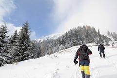 Wandelaars in de winterbergen Royalty-vrije Stock Foto's