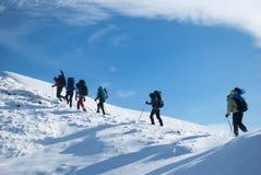 Wandelaars in een de winterberg, de Oekraïne, Karpaty Stock Foto's