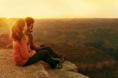 Wandelaars in het Nationale Park van Grand Canyon De V.S. Royalty-vrije Stock Fotografie