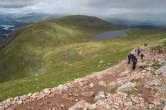 Wandelaars op Ben Nevis Schotland Royalty-vrije Stock Afbeelding