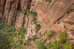Wandelaars op de achtbanen die van Engelen in Zion National Park landen Royalty-vrije Stock Afbeelding
